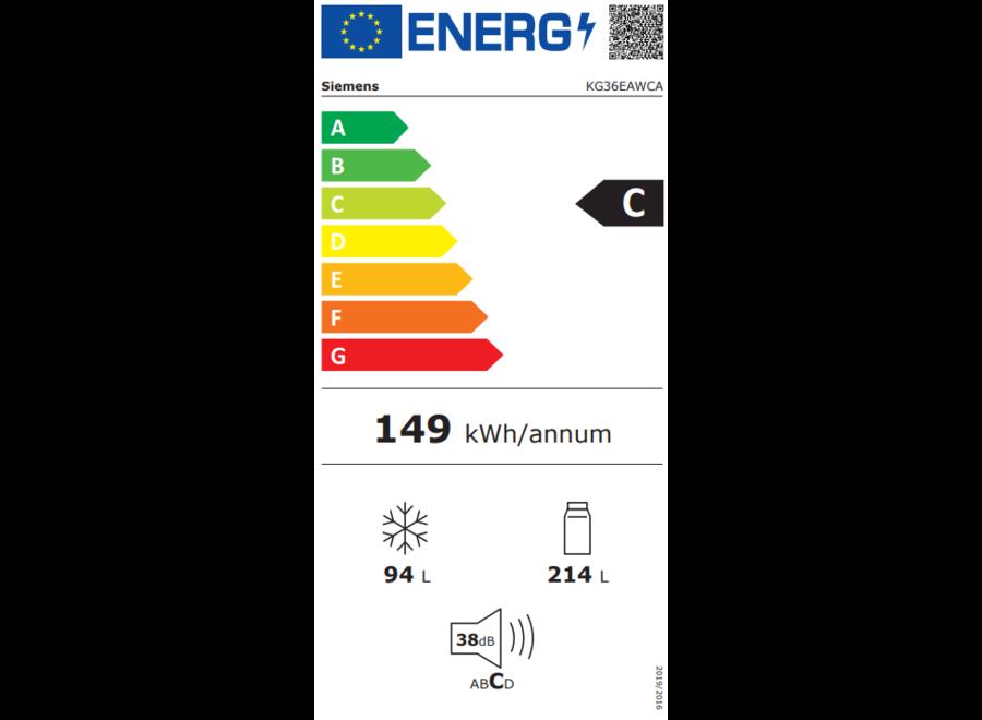 Siemens KG36EAWCA Vrijstaande koel-vriescombinatie