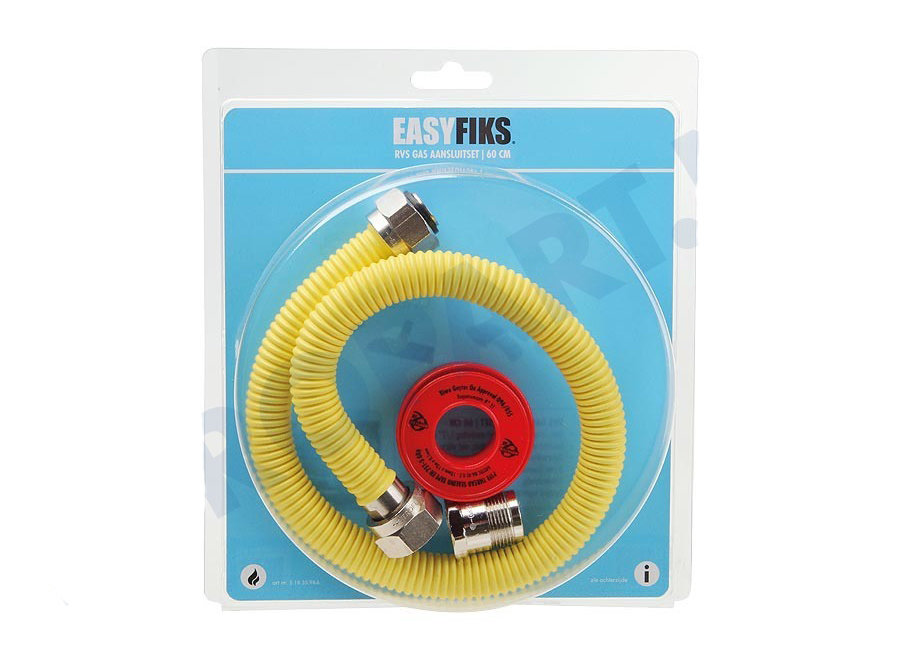 Easyfiks Gasslang Aansluit set compleet 60cm voor inbouw apparatuur