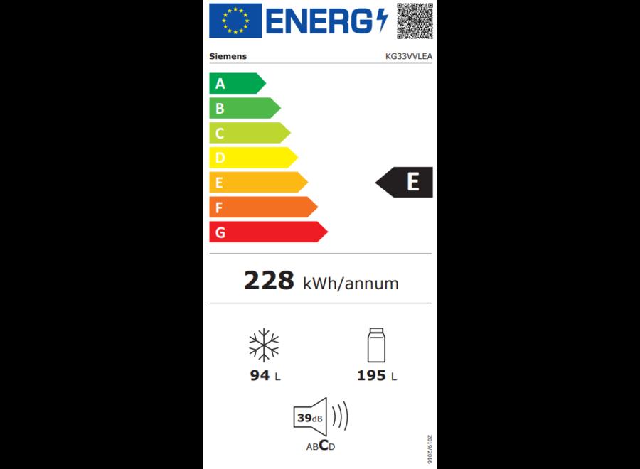 Siemens KG33VVLEA Vrijstaande koel-vriescombinatie