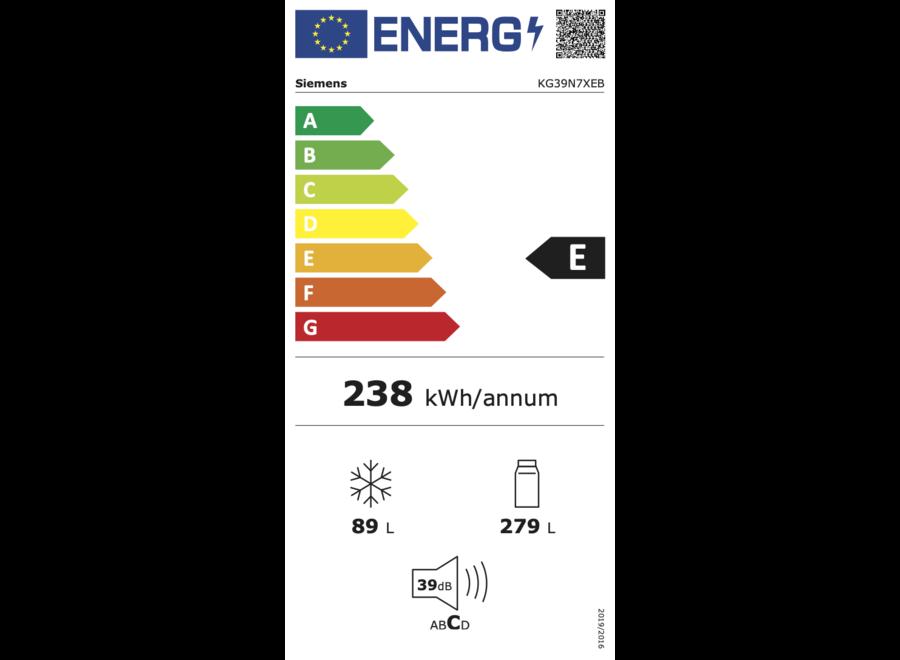 Siemens KG39N7XEB Vrijstaande koel-vriescombinatie