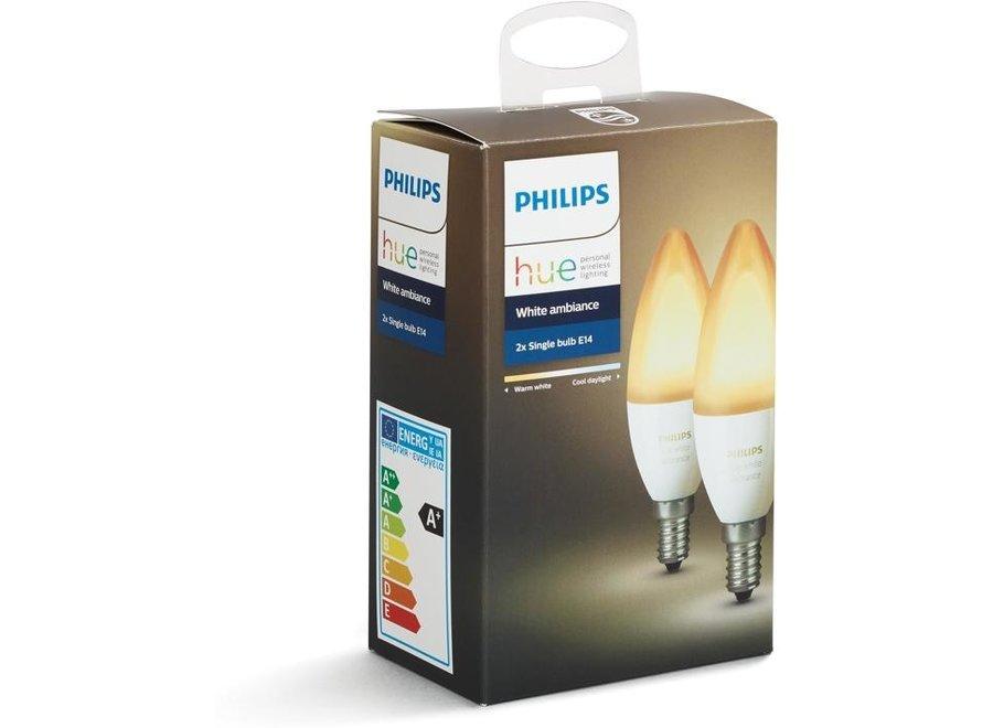 Philips Hue White Ambiance E14 Kaars Duo Pack