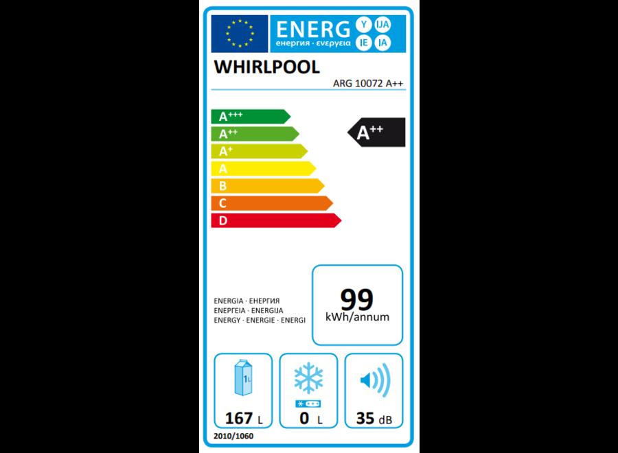 Whirlpool ARG10072A++ Inbouw koelkast 102 cm zonder vriesvak