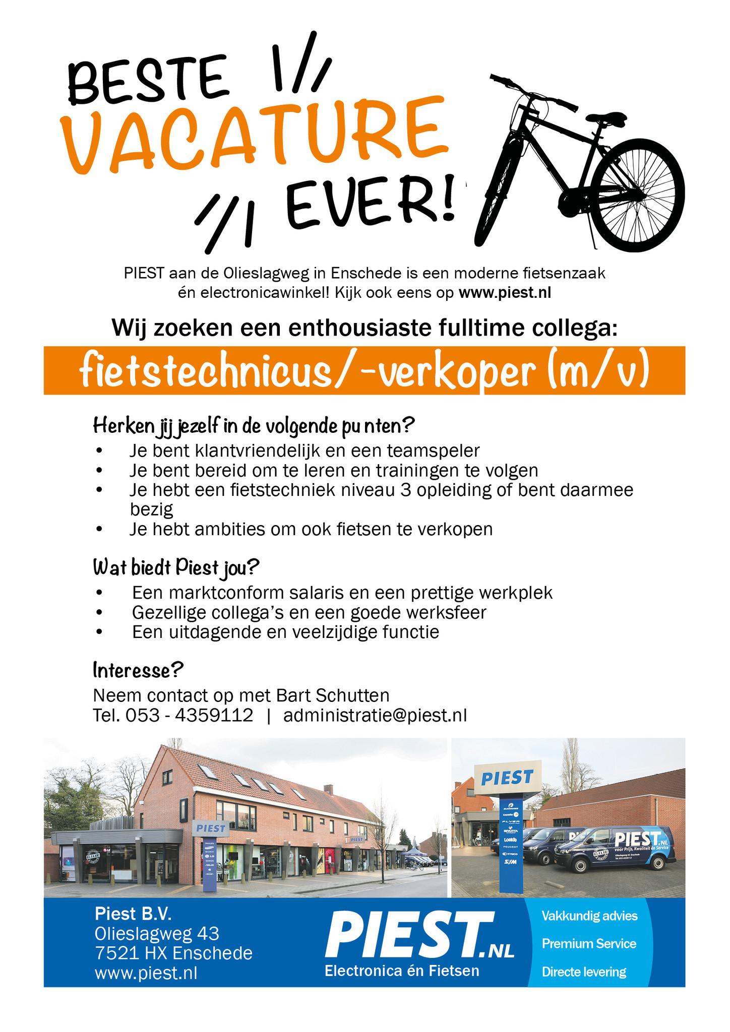 Piest zoekt een enthousiaste fietstechnicus/-verkoper