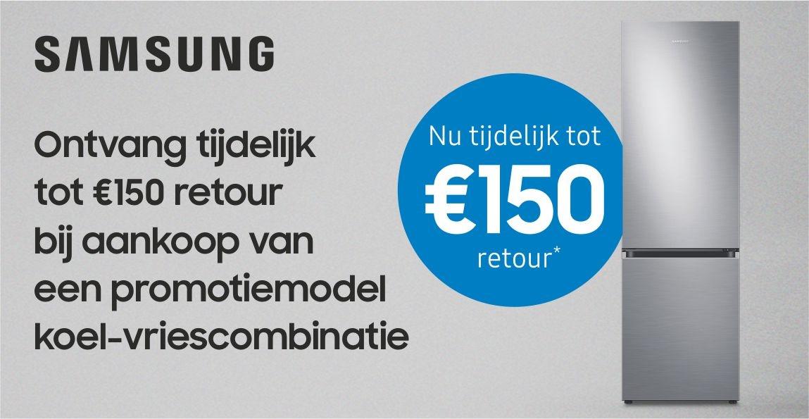 Tijdelijk tot €150 retour op Samsung koel-vriescombinaties