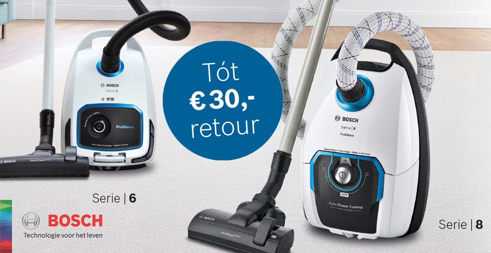 Tot €30 cashback op Bosch stofzuigers
