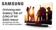 Galaxy Tab A7 (Lite) of tot €200 retour bij aankoop van een Q- of S-series Soundbar