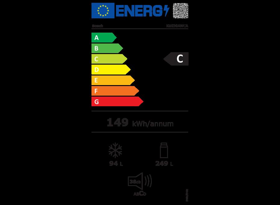 Bosch KGE39AWCA Vrijstaande koel-vriescombinatie