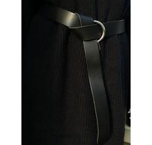 Matte Black Belt Silver Ring