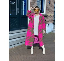 Houndstooth Coat Pink/Beige Long