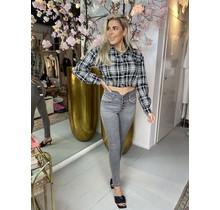QH Super High Waist Button Jeans Grey