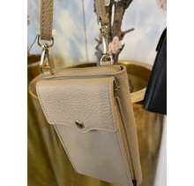 Fancy Crossbody Leather Bag Taupe