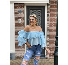 Off The Ruffle Top Blue