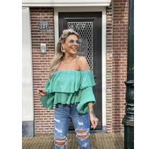 Off The Ruffle Top Green