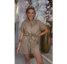 Linnen Cover Up Button Playsuit Brown