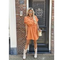 Gold Button Dress Orange