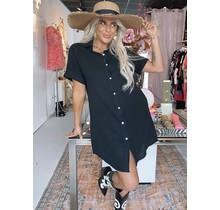 Spain Blouse Midi Dress Black