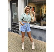 Cute in Cropped Blouse Mint Green