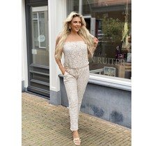 Laced with Love Strapless Jumpsuit Beige