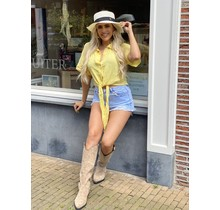 Spain Cropped Blouse Yellow