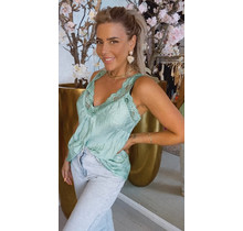 Satin Lace Top Green