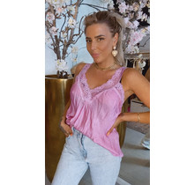 Satin Lace Top Bright Pink