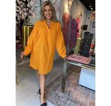Spain Oversized Dress Orange Long  V-Neck