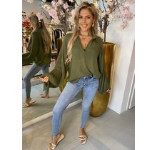 Hot Like Summer Blouse Army Green