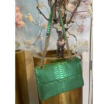 Like A Snake Crossbody Bag Metallic Green