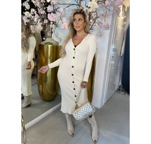 Long Knitted Button Dress Creme