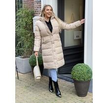 Long Puffer Jacket Beige