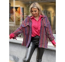 Checkered Color Jacket Pink