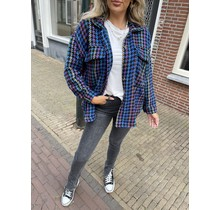 Checkered Color Jacket Blue