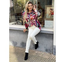 Simply The Best Satin Blouse Swirl Pink/Green