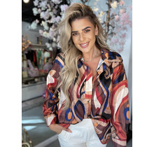 Simply The Best Satin Blouse Swirl Blue/Brown