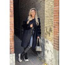 Furry Sleeve Coat Black