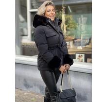 Let's Faux Fur Coat Black