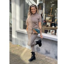 Ambika Leather Jogger Taupe