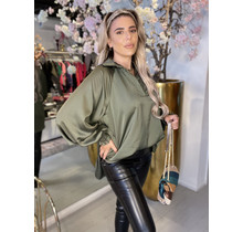 Be Mine Silk Blouse Army Green