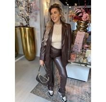 True For You Leather Blazer Brown