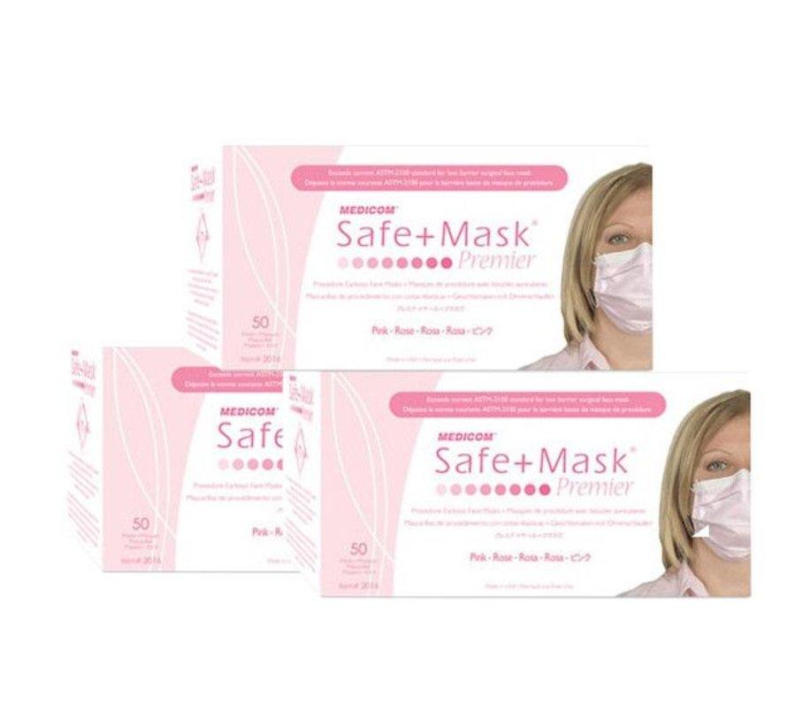 Mondmaskers Roze met oorelastiek (50 stuks)