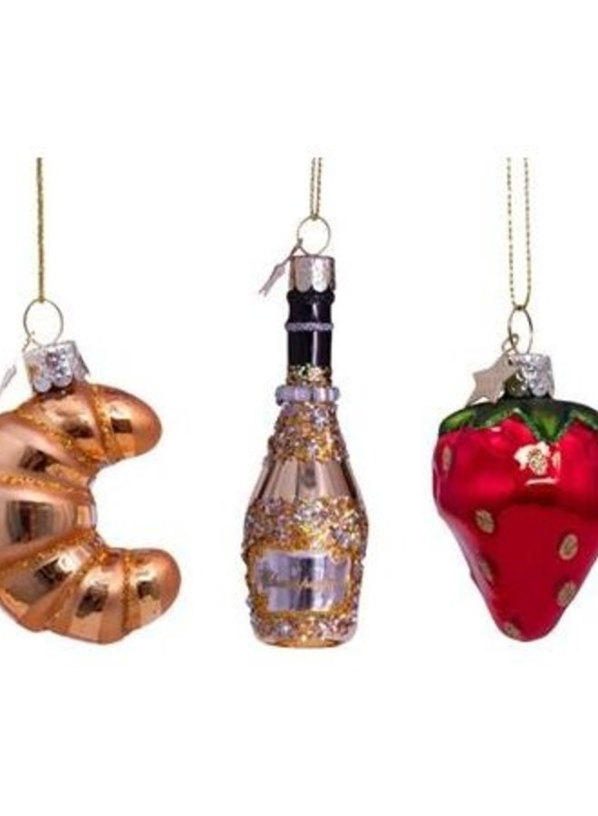 Vondels Christmas ornaments champagne breakfast