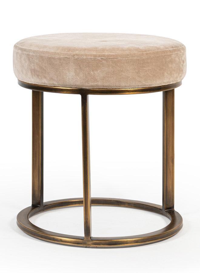 Pouf with velvet seat