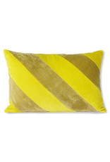 HKLiving Striped Velvet Cushion Yellow / Gold