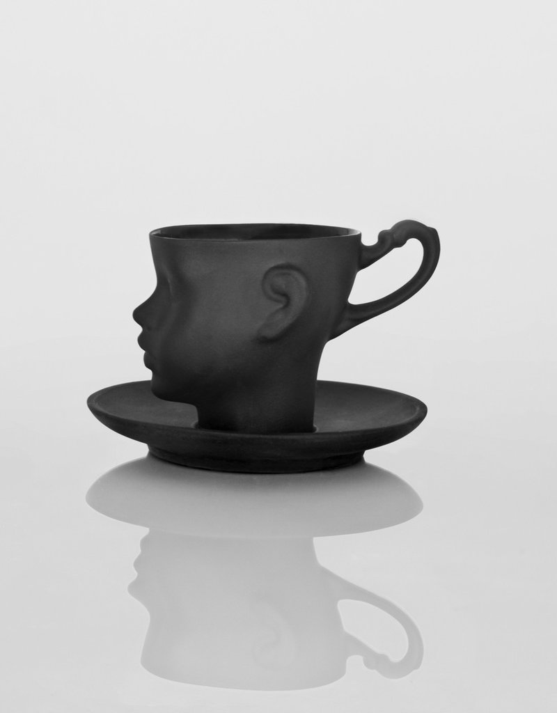 ENDE Doll Head Cup Black With Saucer