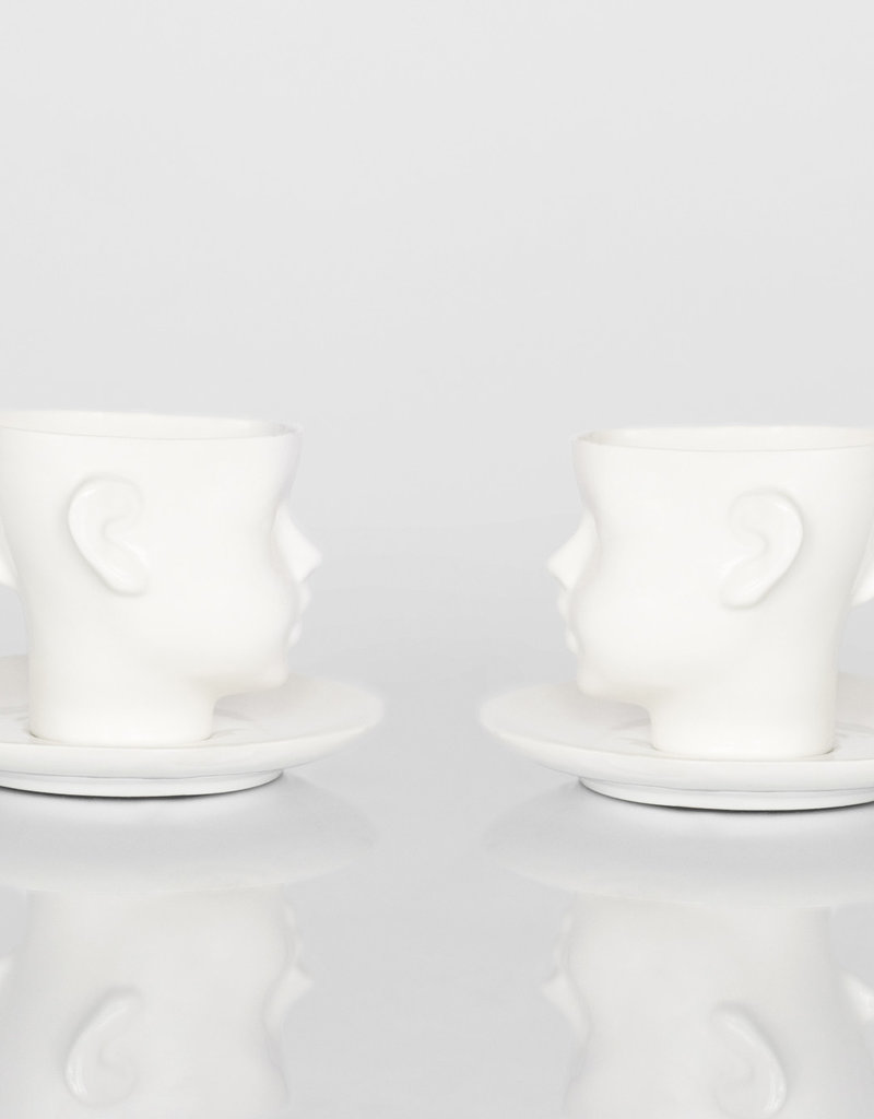 Doll Head Cup White With Saucer