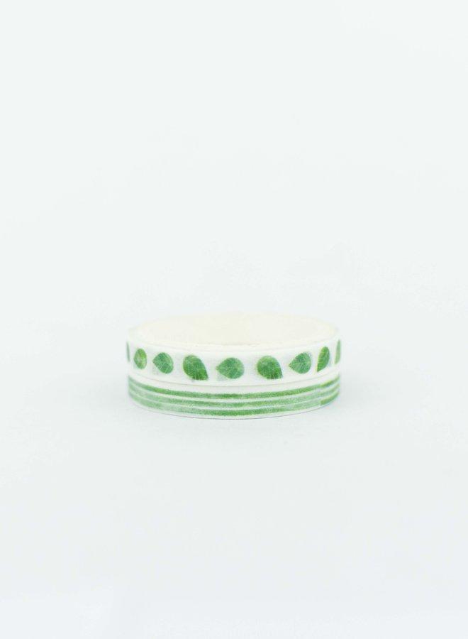Washi tape l Groene strepen-bloemen - Mini set
