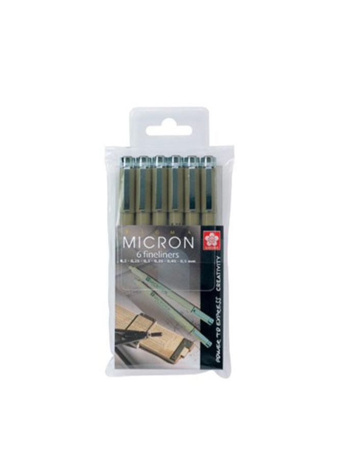 Sakura - Pigma Micron Fineliner zwart (6 stuks)