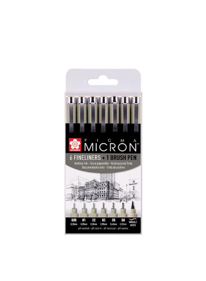 Sakura - Pigma Micron 6 fineliners + 1 brushpen