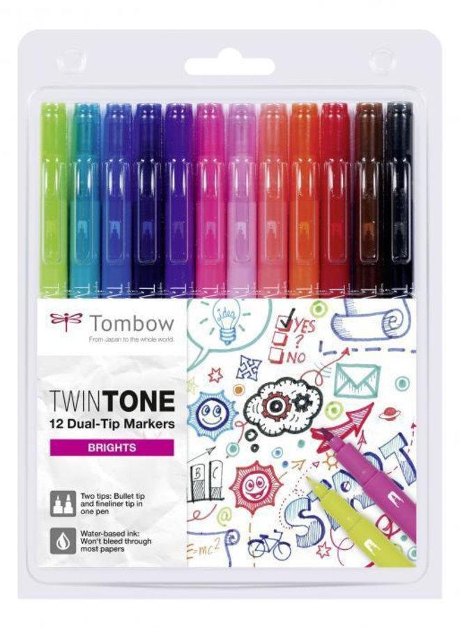 Tombow - TwinTone markers 12st set stralende kleuren (Brights)