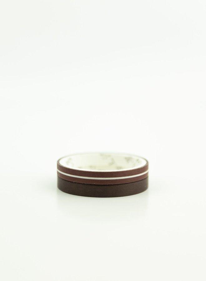 Washi tape   Donker rood bruin - Mini set
